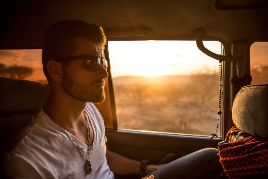 traveling in a car