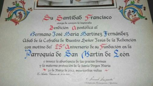 Bendición Apostólica de su Santidad Francisco
