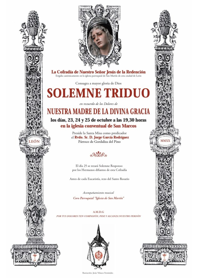 Cartel del Solemne Triduo en honor a Ntra Madre de la Divina Gracia