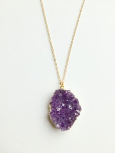 handmade amethyst gold necklace