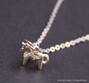 swedish dala horse necklace
