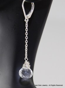handmade white topaz earrings
