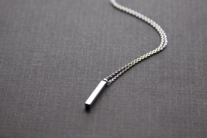 vertical silver bar necklace
