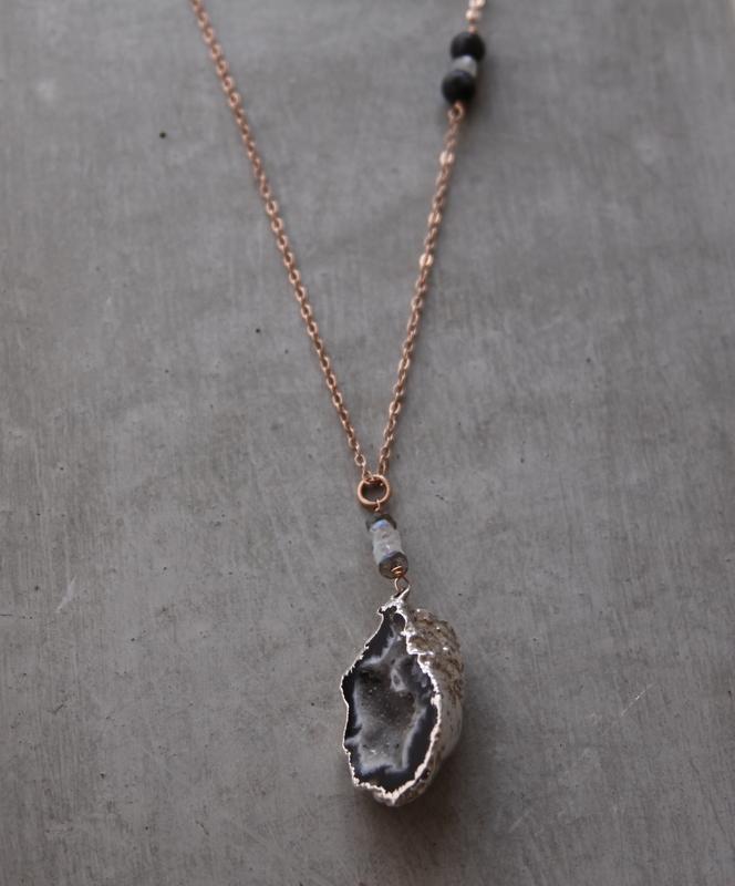 handmade rose gold geode necklace