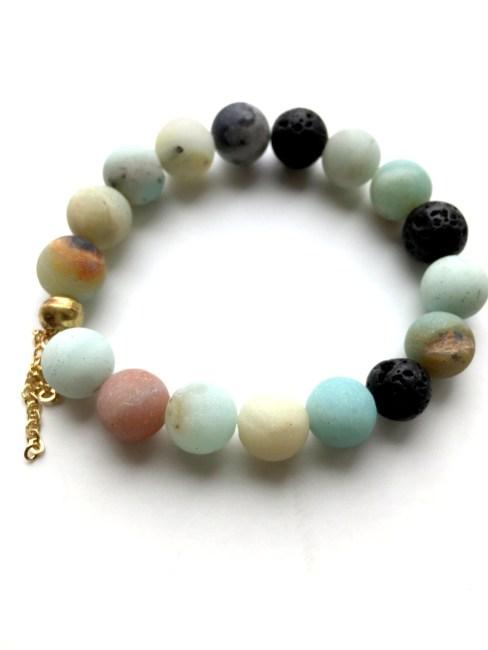 Amazonite Beaded Lava Bead Bracelet Reija Eden Jewelry