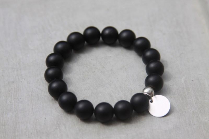 black matte beaded bracelet