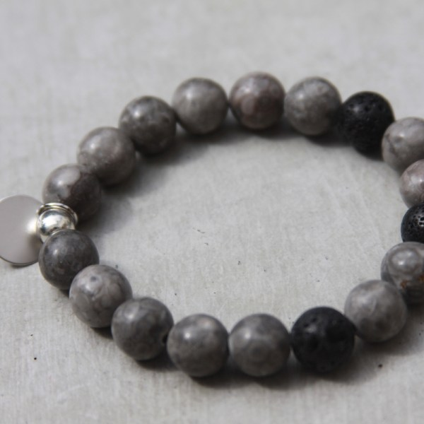 handmade grey beaded gemstone bracelet