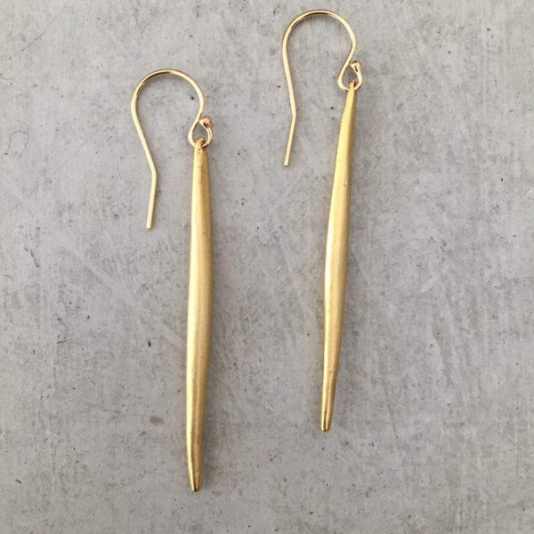 handmade gold spike earrings
