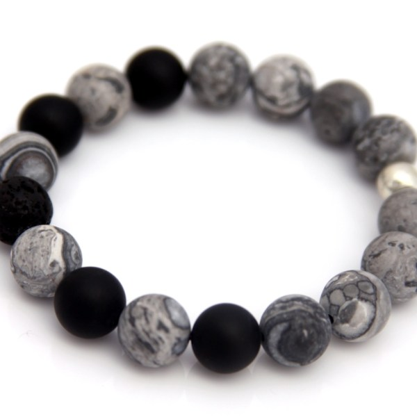 grey lava bead bracelet - essential oil diffuser jewelry
