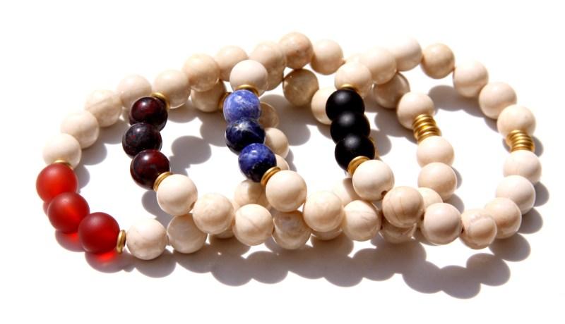 multi gemstone bracelets - fossil jasper bracelets
