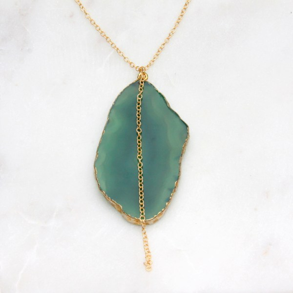 long green agate necklace - gold