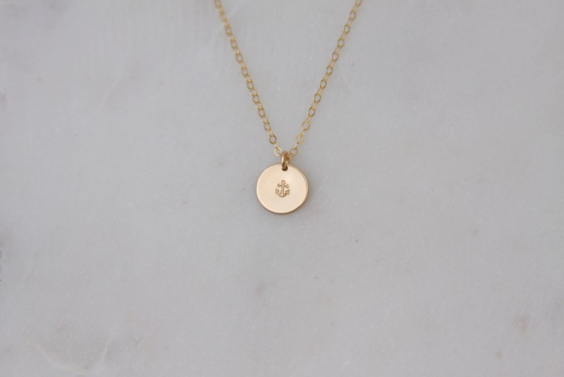 tiny anchor necklace, gold, hand stamped