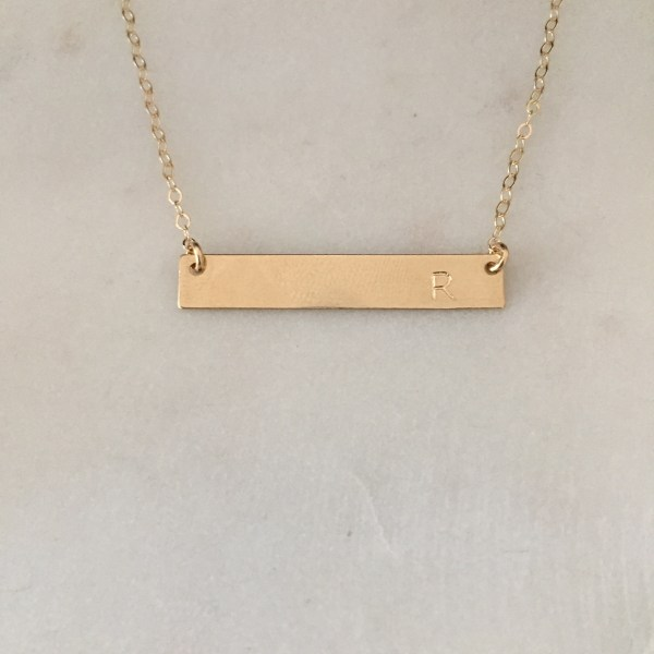 gold bar name necklace