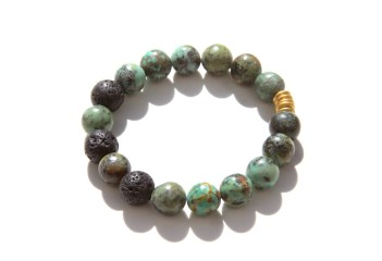 African turquoise beaded bracelet - lava beads