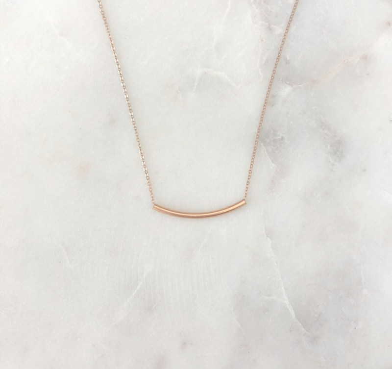 rose gold tube necklace
