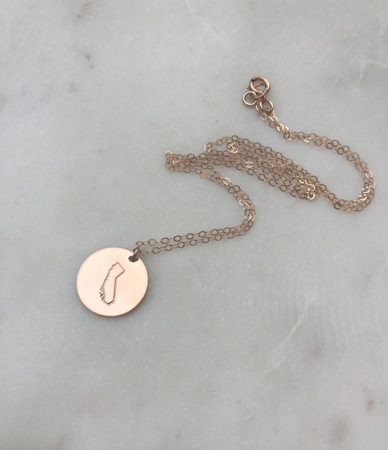 hand stamped gold california necklace
