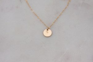 gold initial necklace - hand stamped