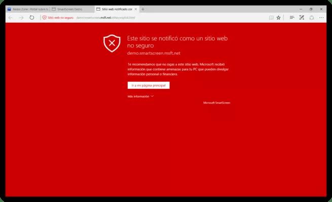 SmartScreen bloquear web maliciosa