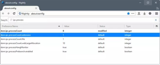 Firefox Nightly subprocesos en windows