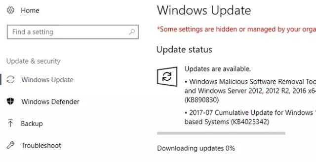 Servicios de actualizaciones de Windows