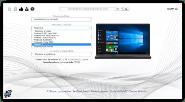 Descargar imagenes máquina virtual Windows