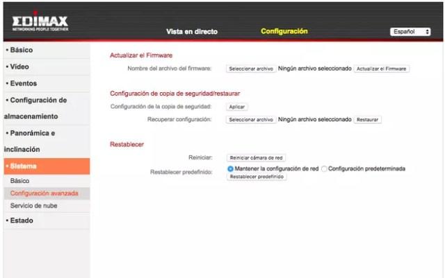 Menú de configuración web camara IP Edimax