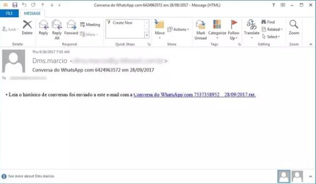 whatsapp mensaje engañoso para repartir malware en Windows