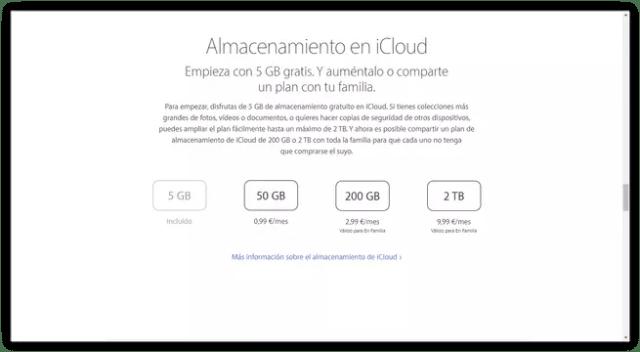 Espacio almacenaje iCloud