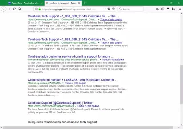 Falso soporte técnico Coinbase