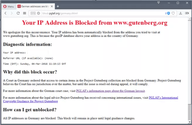 Project Gutenberg geobloqueo de usuarios