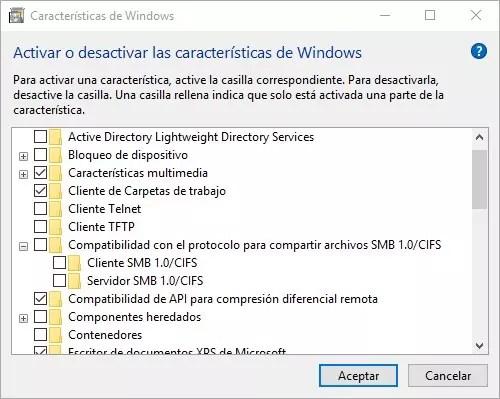 Activar o desactivar SMB CIFS 1.0 ©Windows 10