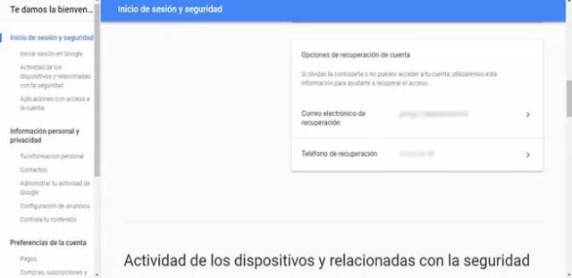Eliminar portátil en la recuperación de Google