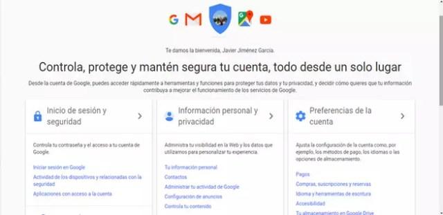 Información particular y privacidad de Google