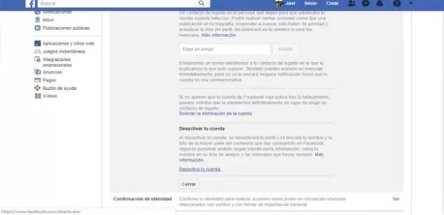 Desactivar temporalmente facebook