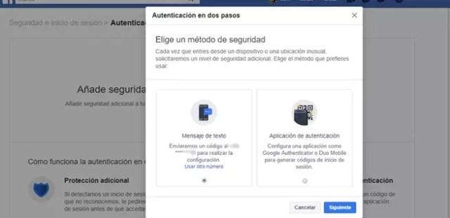 Autenticación en 2 pasos en Facebook