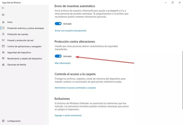 Protección contra alteraciones - ©Windows Defender - 3