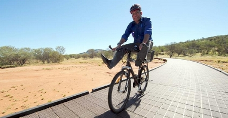 Minister for Parks Karl Hampton tries the upgraded bike path to Simpsons Gap. Picture: JUSTIN BRIERTY