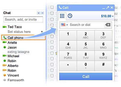 gmail voice screenshot Place free phone calls from Gmail to the US and Canada through the end of 2011