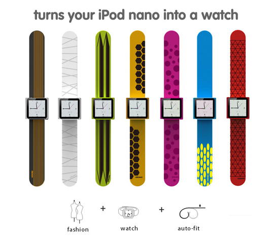 iCoat Watch+ turns your iPod Nano into a slap bracelet watch
