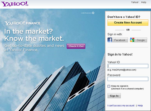 Yahoo to let you login to their services with a Google or Facebook account