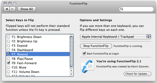 FunctionFlip gives you control of your MacBook's function keys
