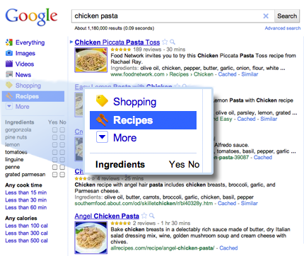 Google adds recipe search