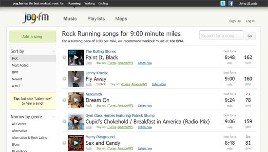 Jog.fm helps you build the perfect workout playlist