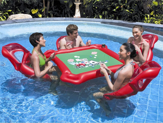 Now you can play cards in the pool with this inflatable poker set