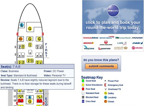SeatGuru gives you a detailed look at the seating on your next flight