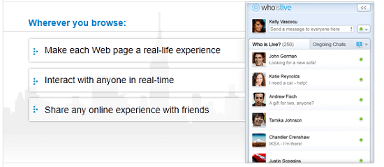 WhoisLive lets you chat with other people browsing the same site