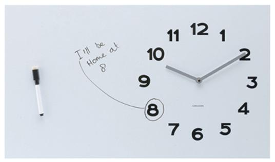 Whiteboard Wall Clock does double duty