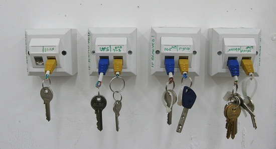 Make your own RJ-45 keychain and key rack