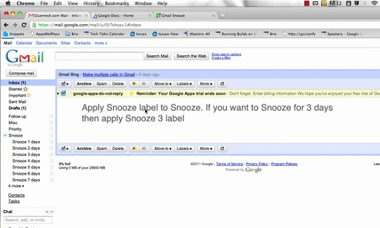 Create a snooze button for your Gmail account