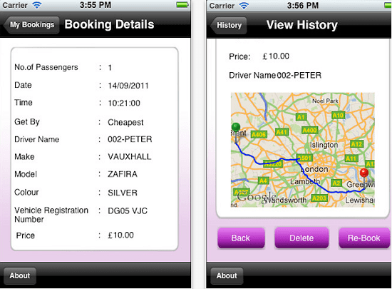 Safer Minicabs lets you book a cab from your phone
